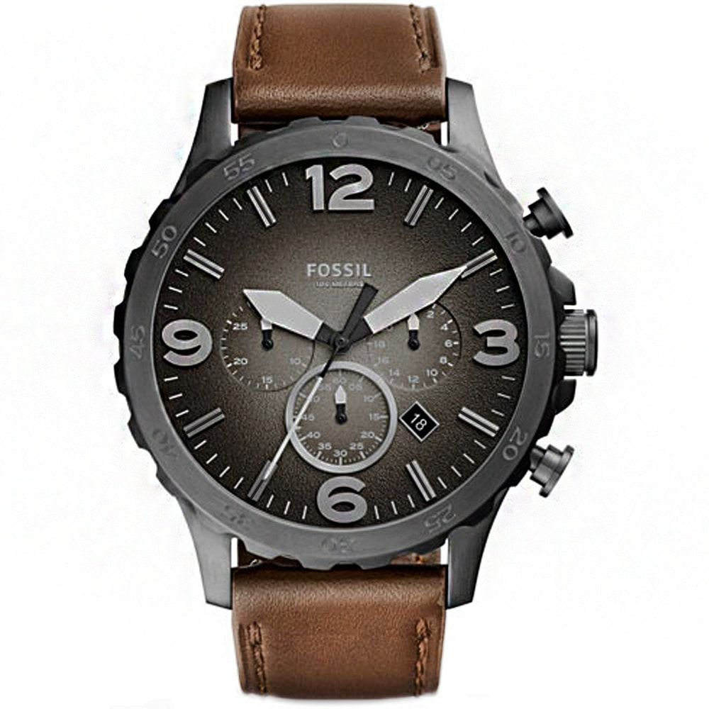Relógio Fossil Masculino Chronograph Grey Nate Brown Couro JR1424/2PN