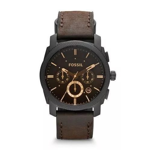 Relógio Fossil Masculino Machine Leather Chronograph FFS4656/Z