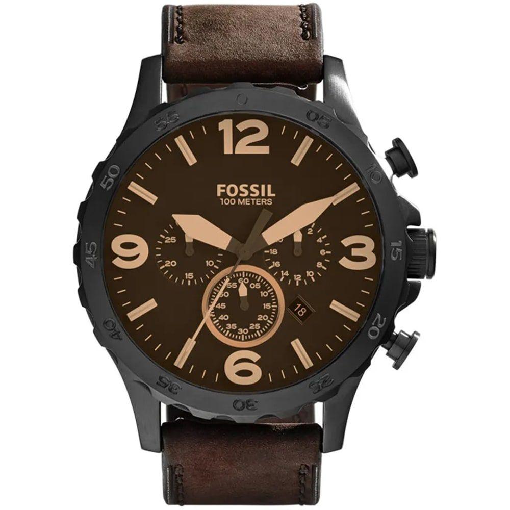Relógio Fossil Masculino Nate Chronograph Marrom Couro JR1487/0MN