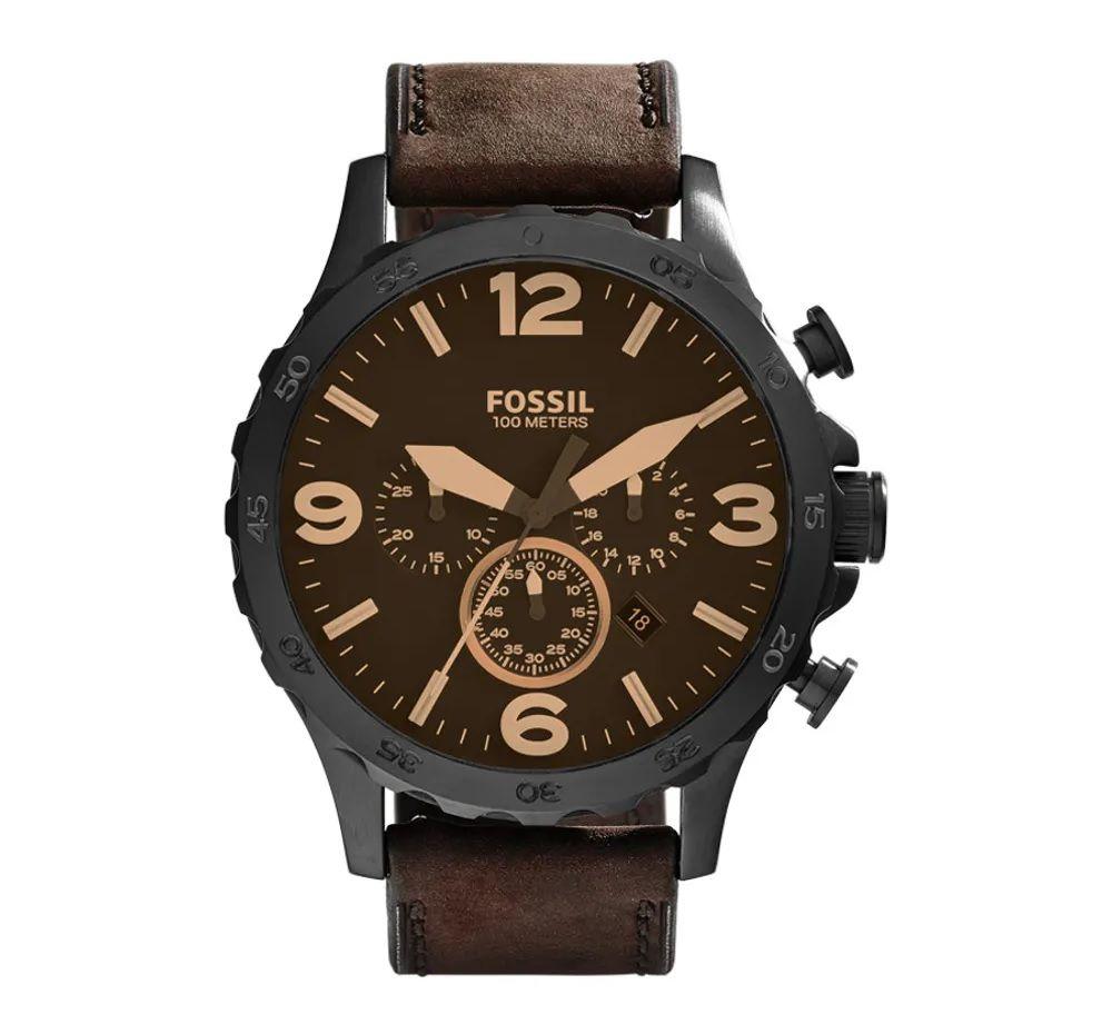 Relógio Fossil Masculino Nate Marrom Couro JR1487/0MN