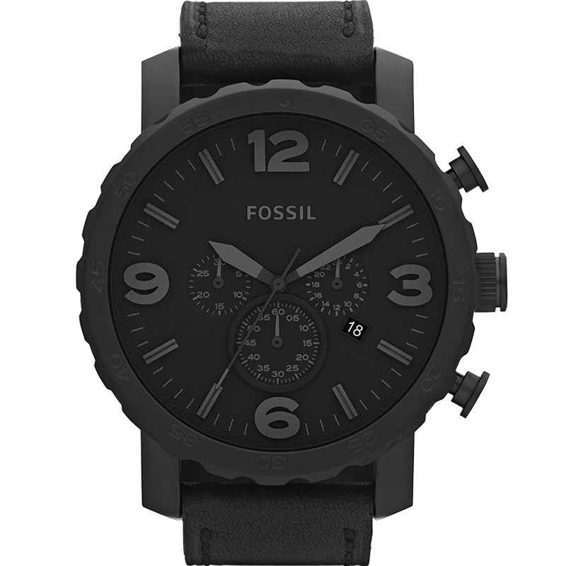 Relógio Fossil Masculino Nate Preto Couro JR1354/2PN