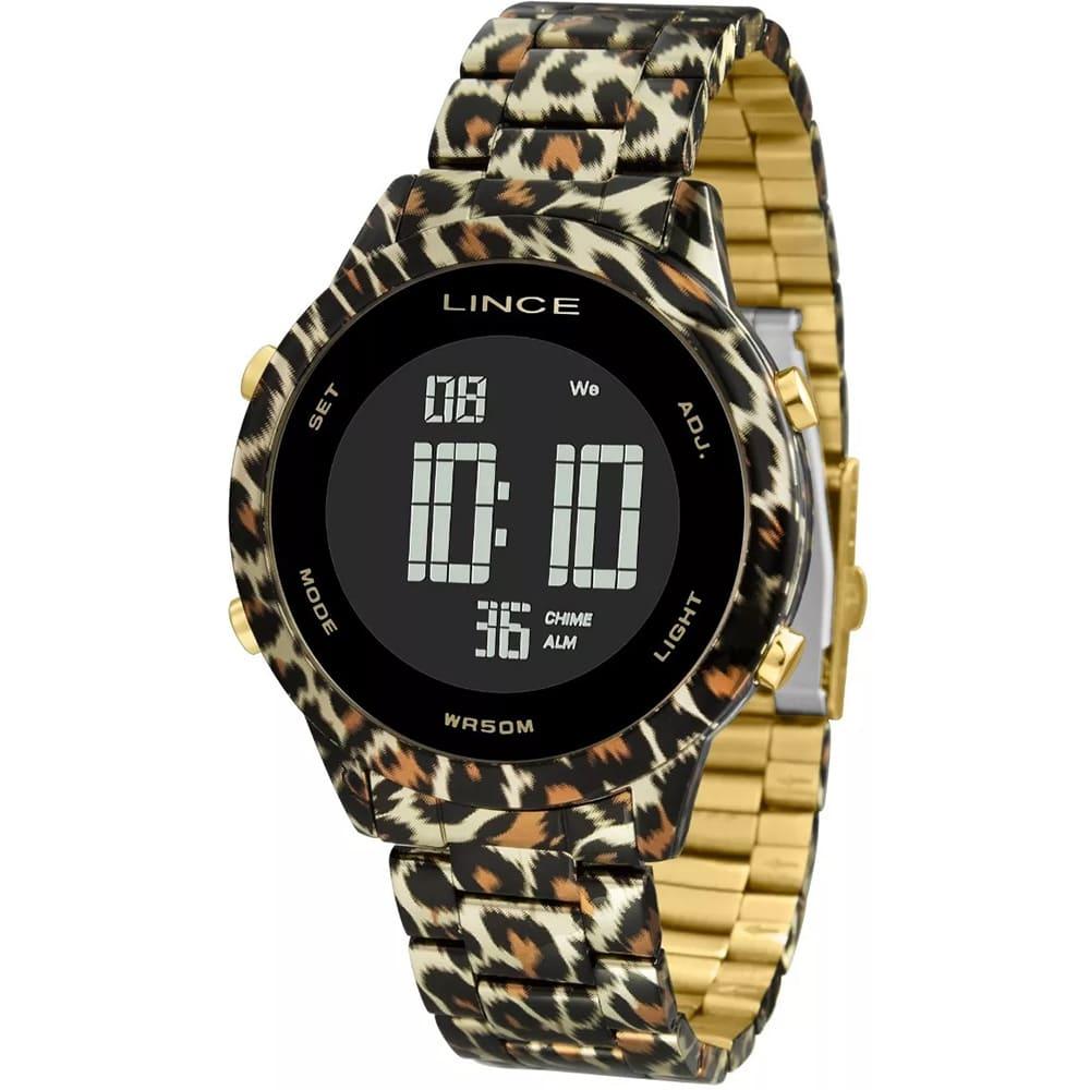 Relógio Lince Feminino Digital Onça Dourado SDPH103L PXKP
