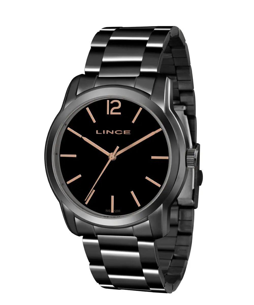 Relógio Lince Feminino Preto Aço Analógico LRY4449L G2GX