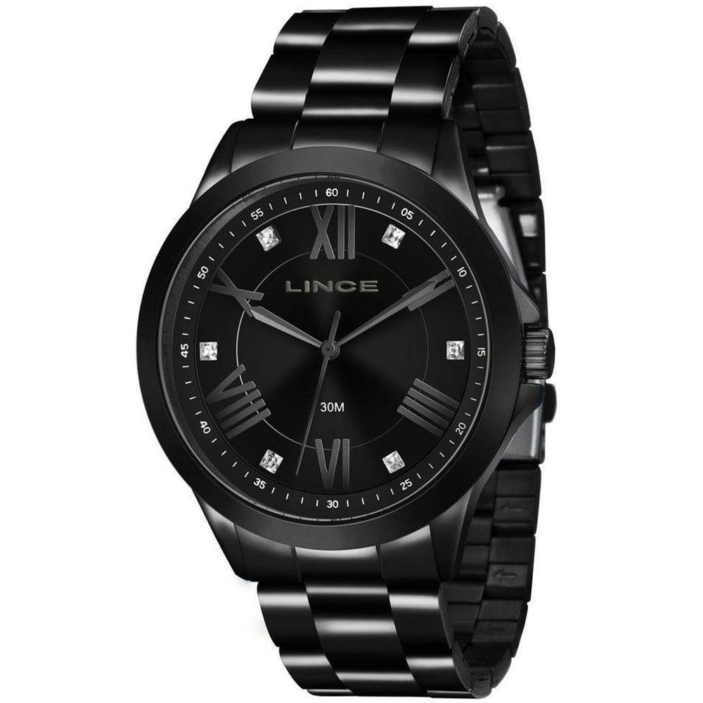 Relógio Lince Feminino Preto Analógico Fashion LRNJ046L P3PX