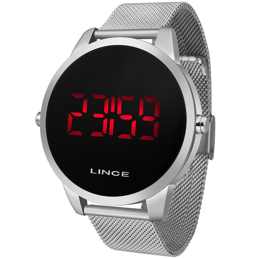 Relógio Lince Masculino Digital Led Prata Redondo MDM4586L PXSX