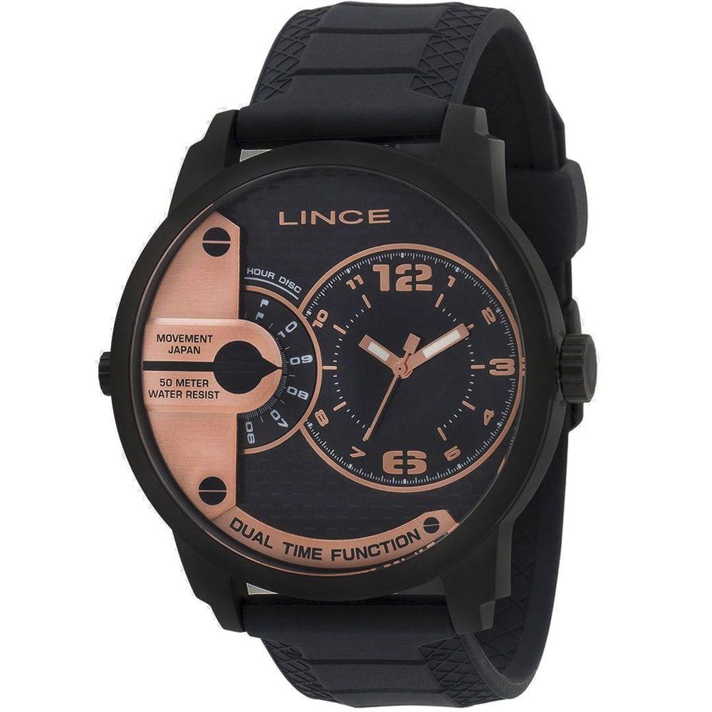 Relógio Lince Masculino Preto e Rose MRPH050S P2PX