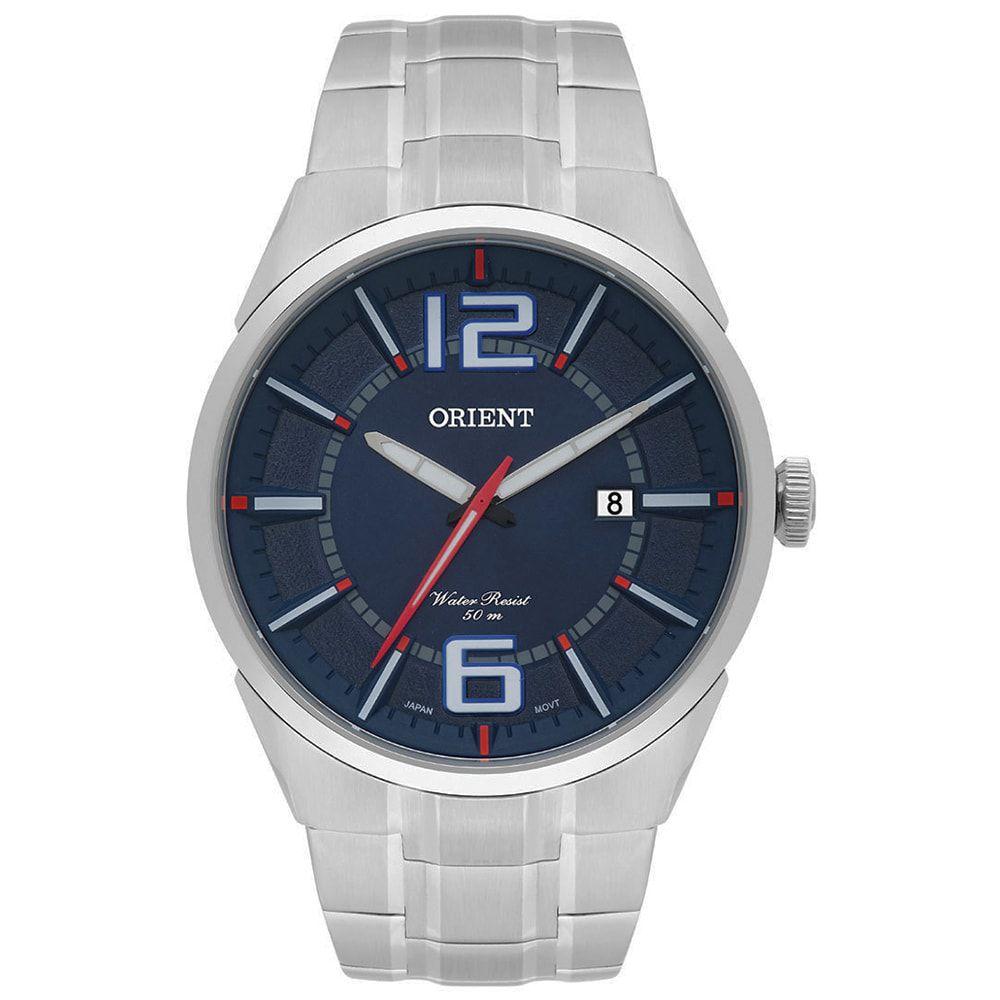 Relógio Orient Masculino Prateado e Azul MBSS1327 D2SX