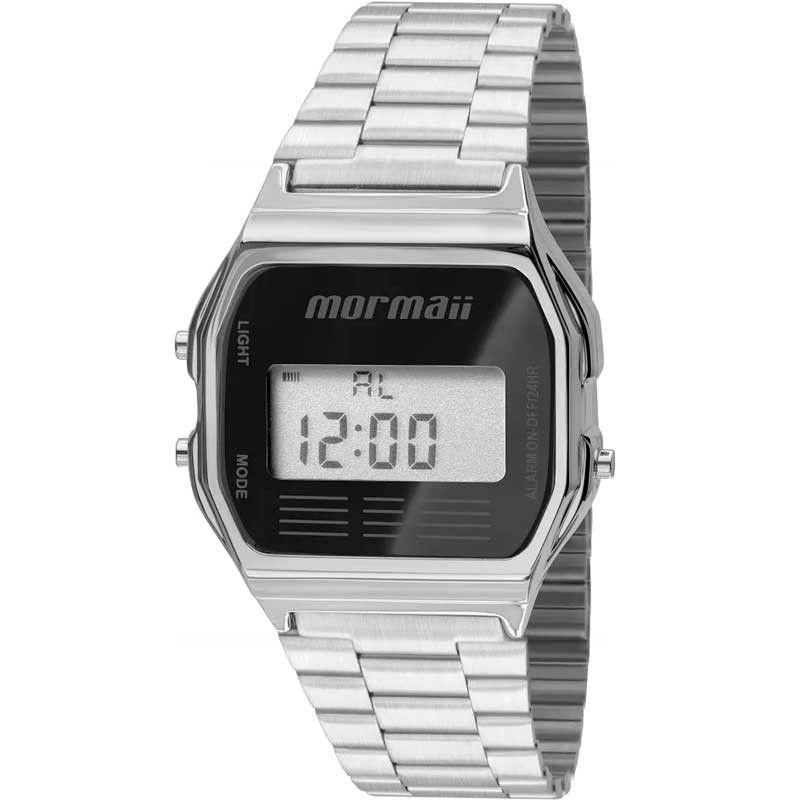 Relógio Mormaii Feminino Vintage Digital Prata/Preto MOJH02AA/3P