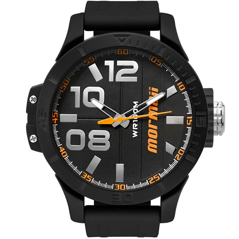 Relógio Mormaii Masculino Wave Preto e Laranja MO2035IE/8L
