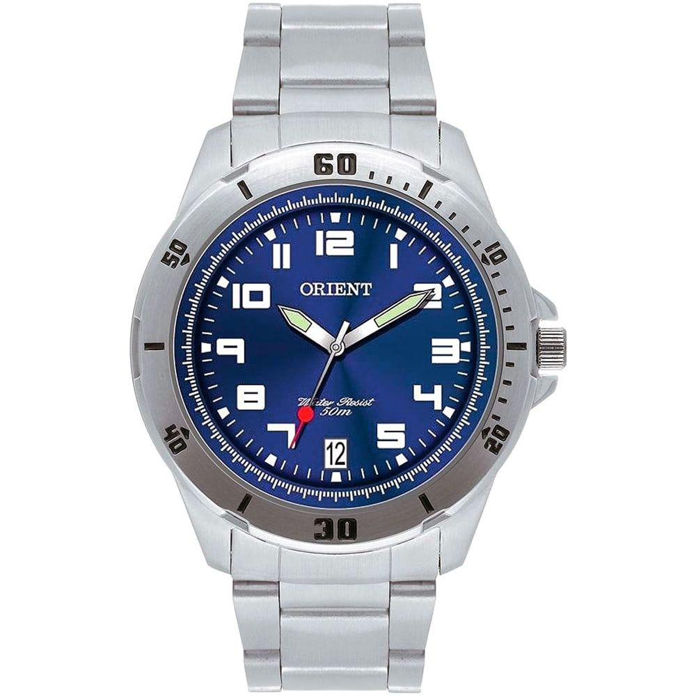 Relógio Orient Masculino Analógico Azul e Prata MBSS1155A D2SX