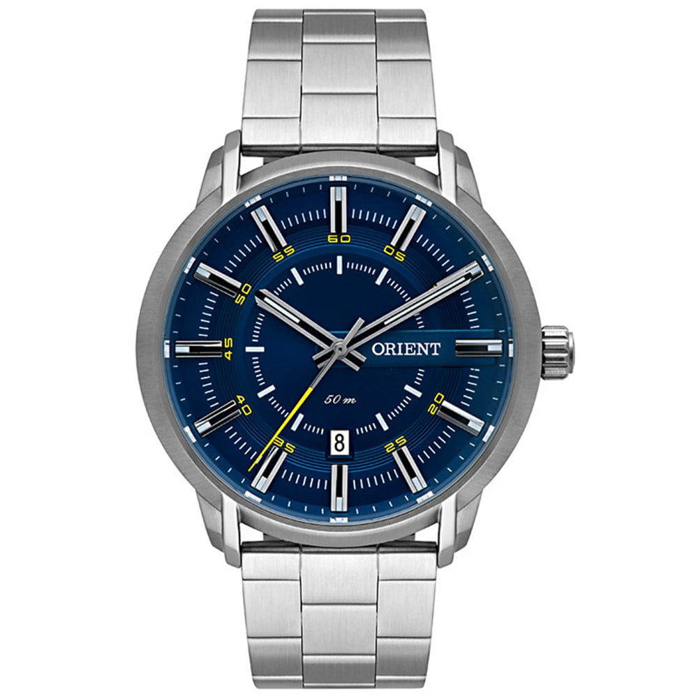 Relógio Orient Masculino Prata e Azul Esportivo Analógico MBSS1347 D1SX