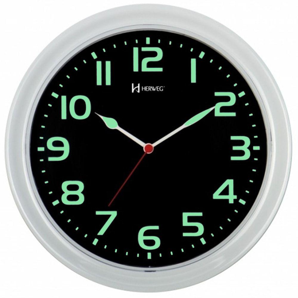 Relógio de Parede Herweg Fluorescente Branco e Verde 660016 196