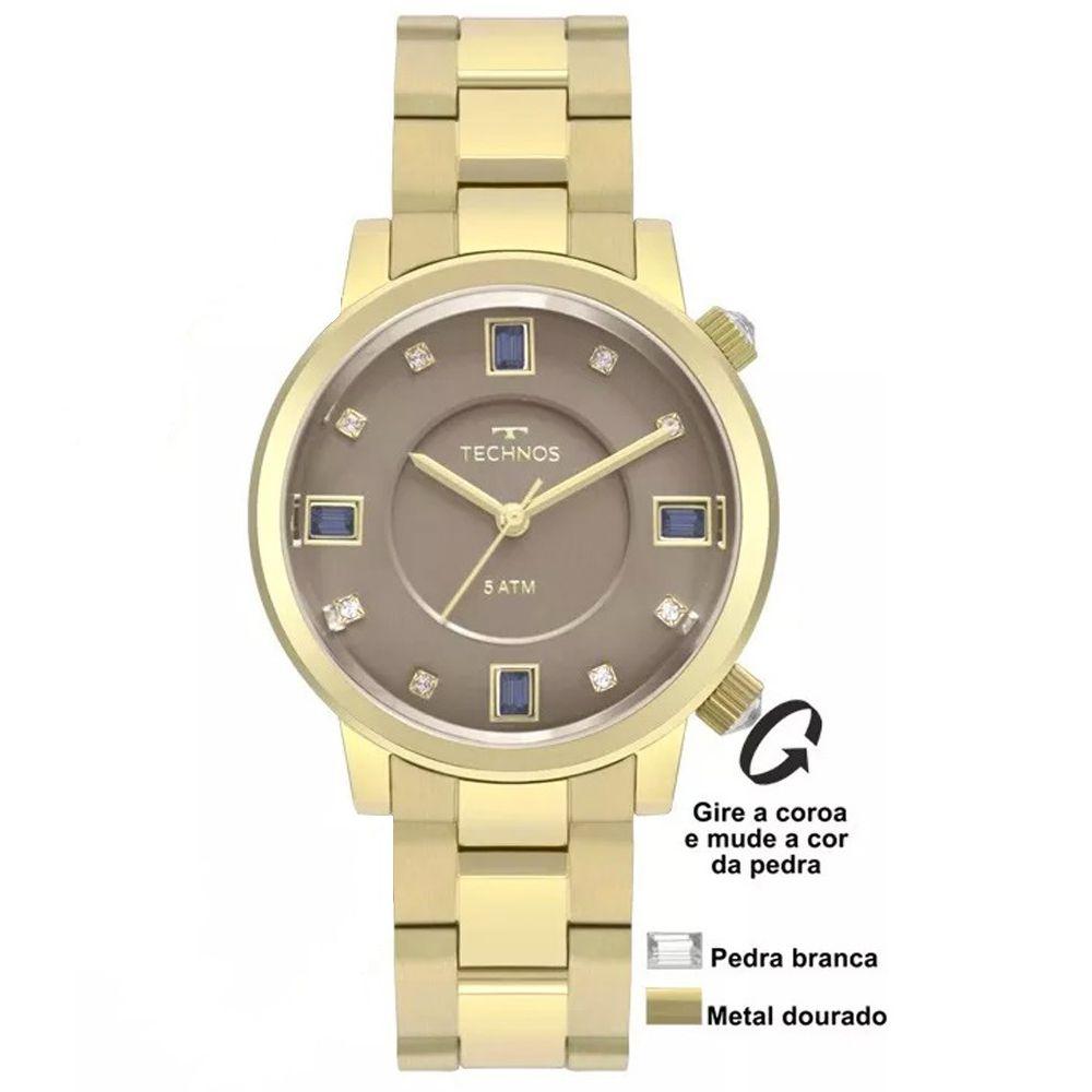 Relógio Technos Feminino Dourado Crystal Rocks 2039BU/4C