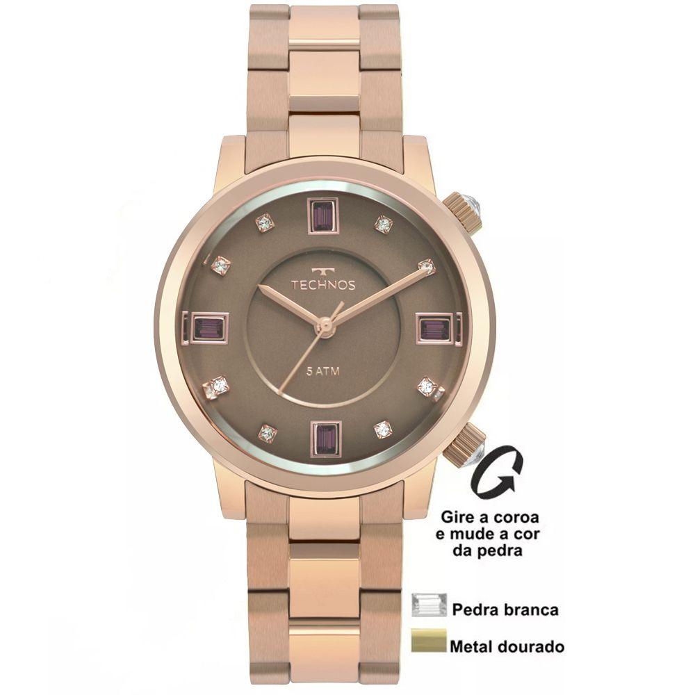 Relógio Technos Feminino Rosé Crystal Rocks 2039BV/4M
