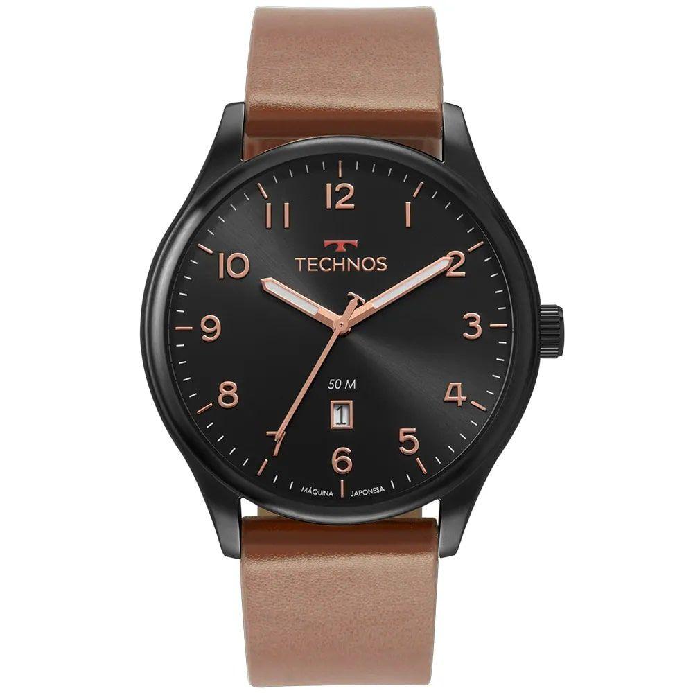 Relógio Technos Masculino Classic Steel Marrom e Preto 2115MUZ/2P