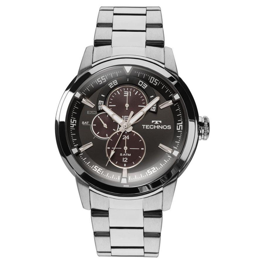 Relógio Technos Masculino Prateado Grandtech 6P57AD/1P