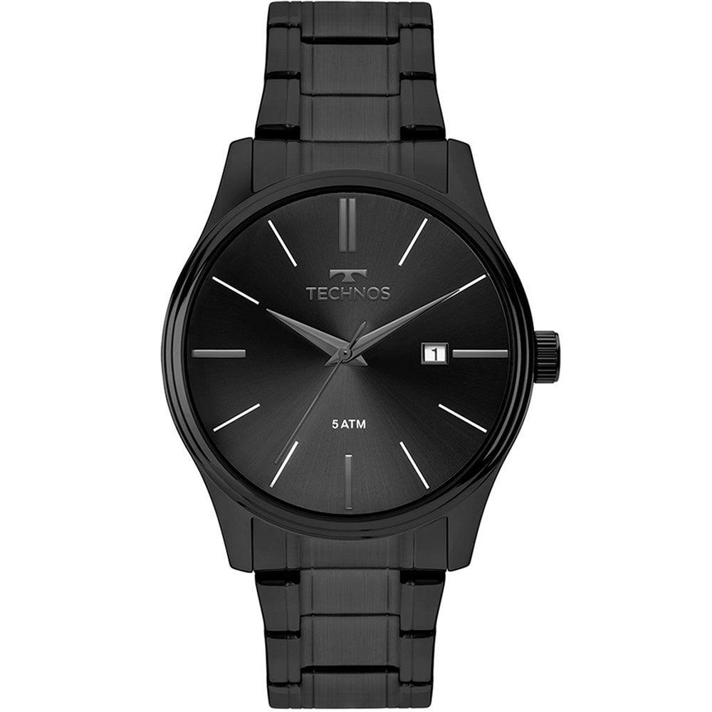 Relógio Technos Masculino Preto Classic Steel 2115MPO/4P