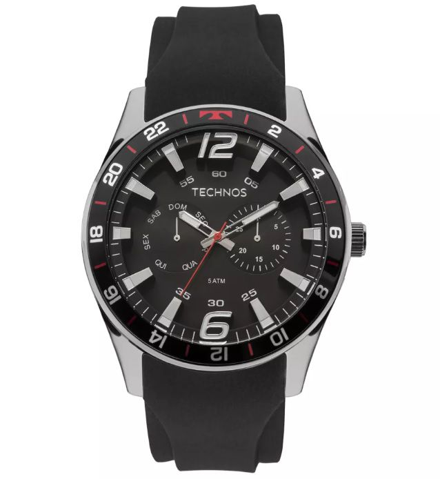 Relógio Technos Masculino Racer Silicone 6P25BN/8P
