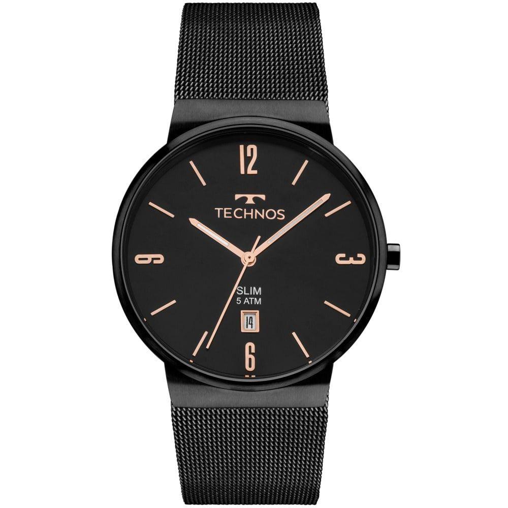 Relógio Technos Unissex Preto Slim Analógico Gm10yj/4p
