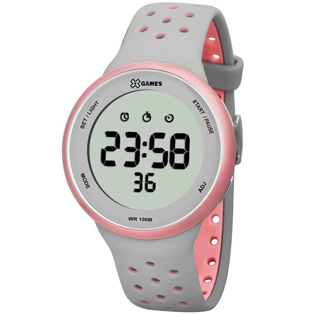 Relógio X Games Feminino Digital Cinza e Rosa XFPPD039 BXGR
