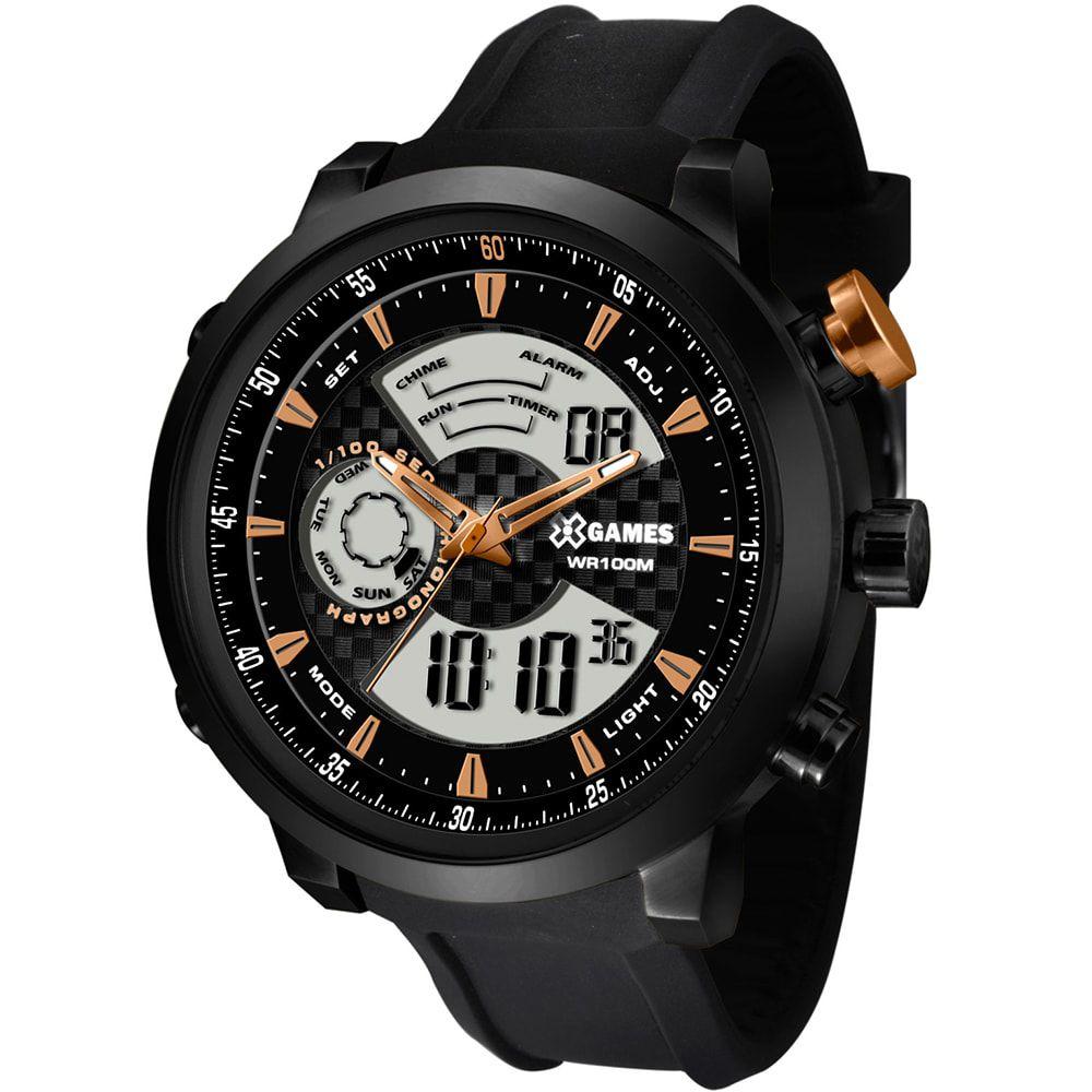 Relógio X Games Masculino Anadigi Negativo Preto XMSPA017 P2PX