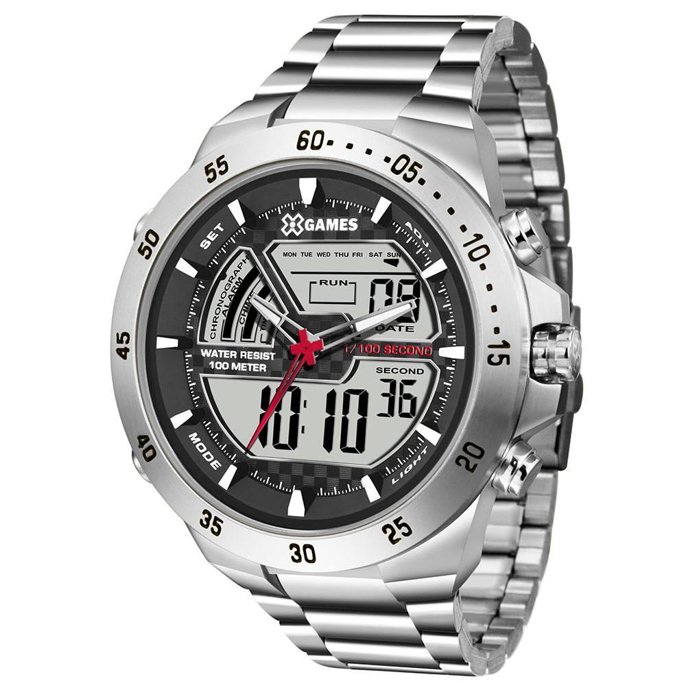 Relógio X Games Masculino Anadigi Prateado XMSSA005 BXSX
