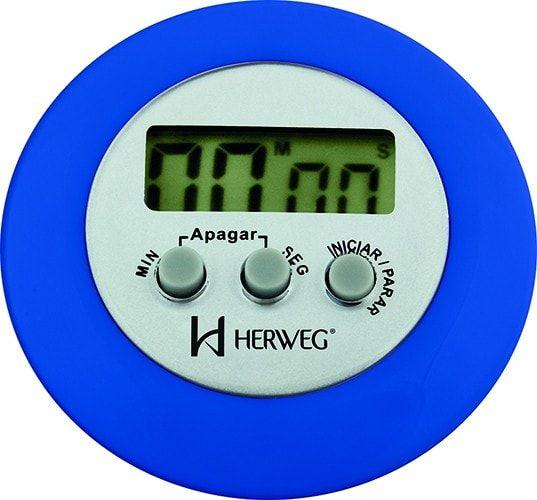 Timer Herweg Digital Azul Redondo 3308 011 Alarme e Imã Traseiro