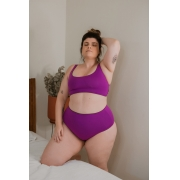 Hotpant plus size dupla face marrom / rosa
