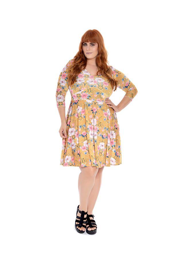 Vestido Plus Size Curto Floral Mostarda I
