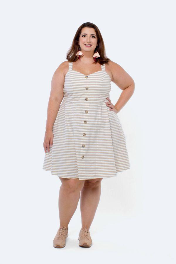 Vestido Plus Size Curto Nopal Listrado