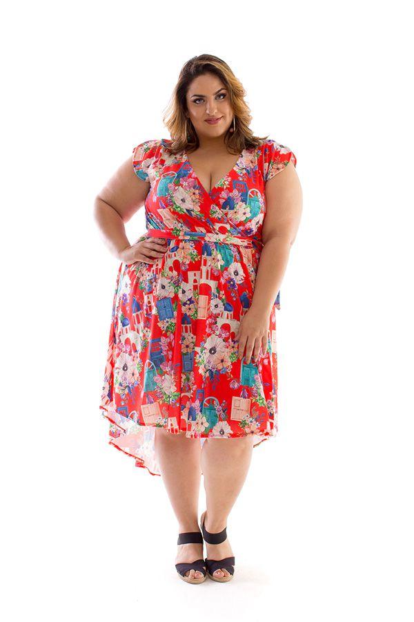 Vestido Plus Size Curto Santorini I