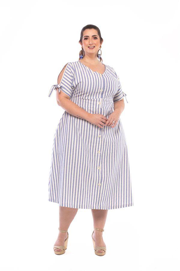Vestido Plus Size Midi Pitaya Listrado