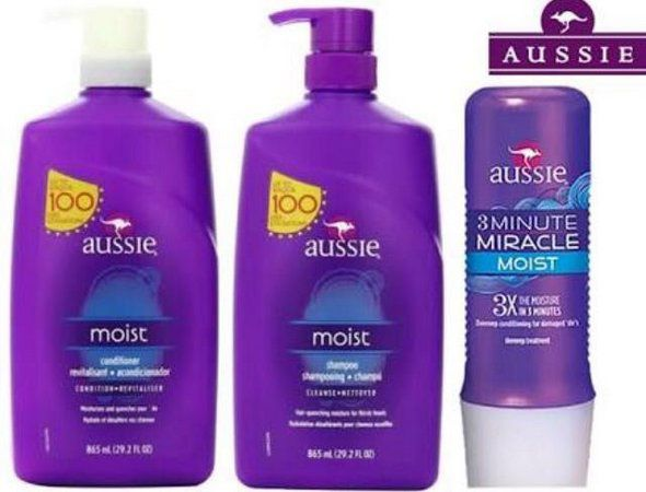 Aussie Kit Moist Shampoo, Condicionador 865ml e Mascara 236ml
