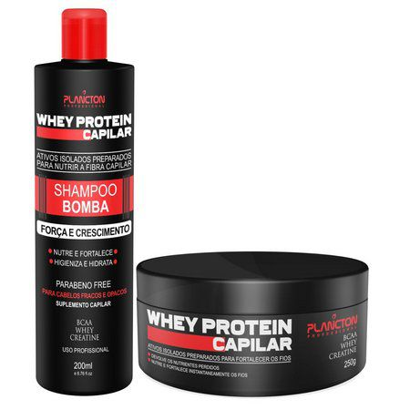 Kit Whey Protein Mascara E Shampoo Capilar Plancton