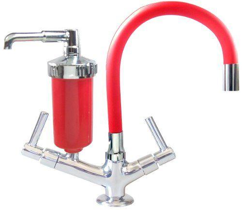 Torneira Filtro Luxo Flexível Cozinha Tubo E Copo Vermelhos