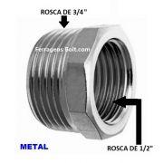 Adaptador Redução metal 3/4 para 1/2 polegada