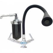 Filtro torneira de bancada bica flexivel preto arejador chuveiro e jato