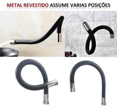 Torneira Luxo Tubo Preta Flexível, Jato Duplo Cozinha