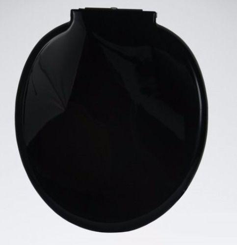 Assento Almofadado Preto Para Vaso Sanitário Oval