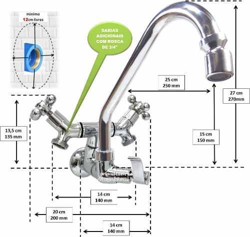Torneira Bica, Saída Dupla Maquina Lavar Roupa Ou Louça