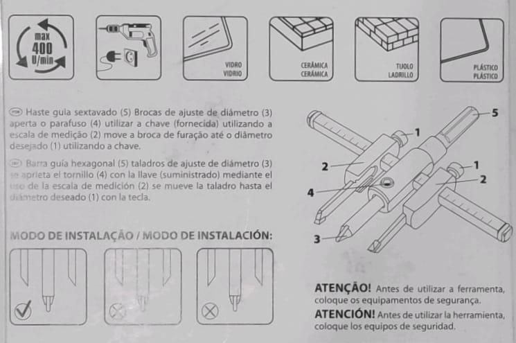 BROCA BAILARINA REGULAVEL FUROS DE 30 A 130mm
