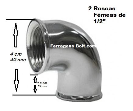 COTOVELO JOELHO CURVA CROMADA METAL ROSCA DE 1/2