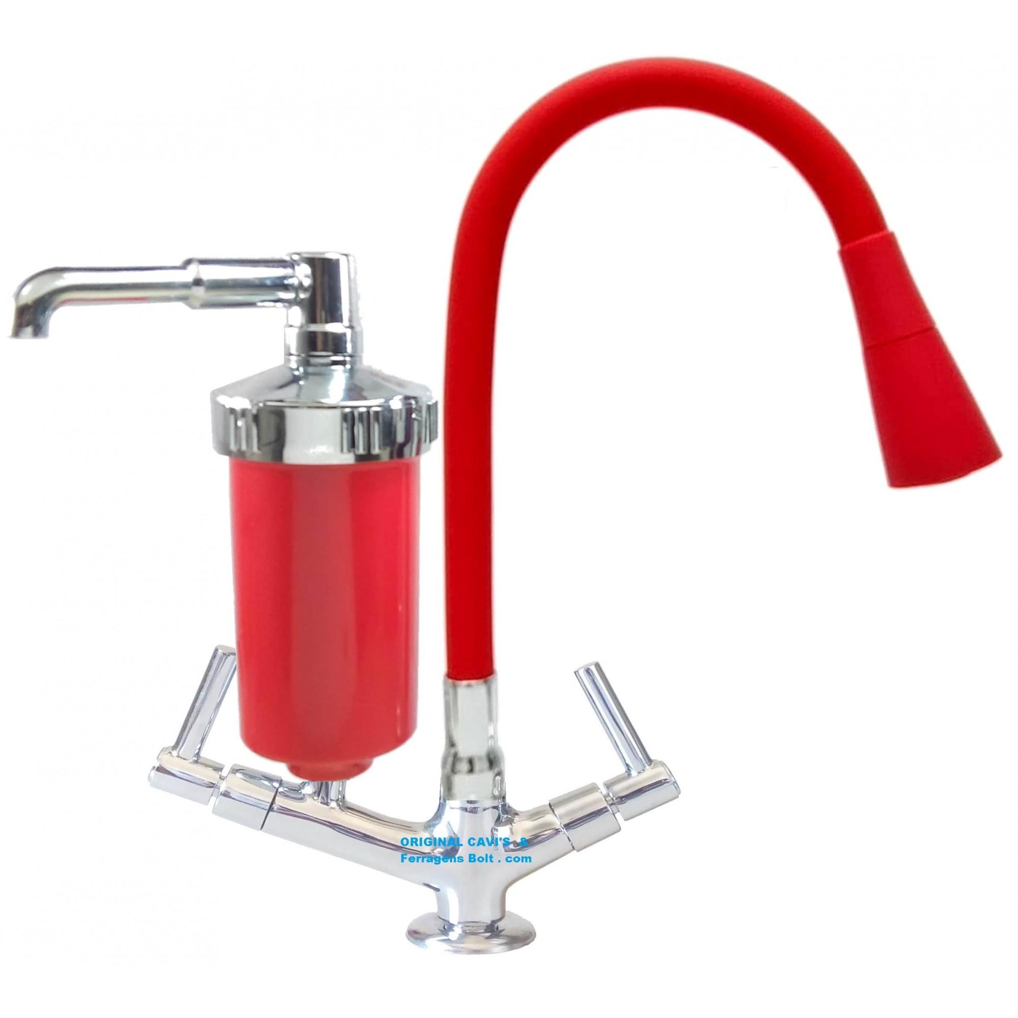 Filtro torneira bancada bica flexivel Vermelho arejador chuveiro e jato