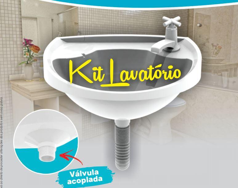 Kit lavatório Banheiro, lavanderia  (Lavatório+Torneira+Sifão+Válvula)
