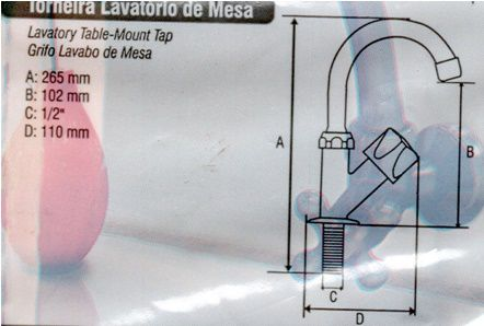 Torneira Bica Móvel Lavatório, Azul, Mesa 1/4 De Volta