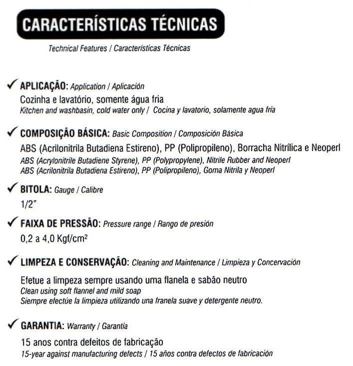 - Torneira Cozinha Parede Bica Móvel Horizontal Com detalhes em cromo
