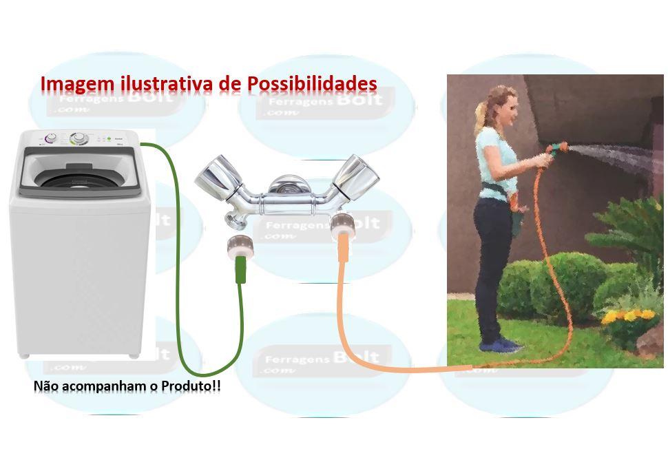 Torneira Dupla Slim Mini Luxo Maquina, Lavar, Secar, Tanque