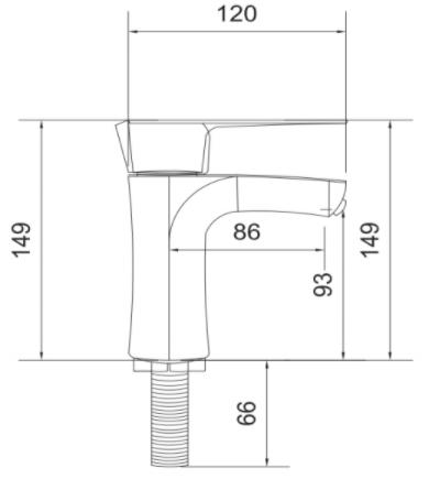 Torneira lavatório Luxuosa Bica fixa e mecanismo de 1/4 de volta