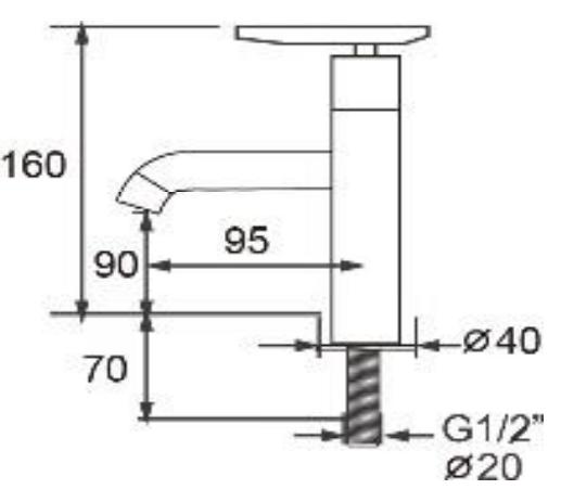 Torneira Luxo lavatório Bica fixa e mecanismo de 1/4 de volta