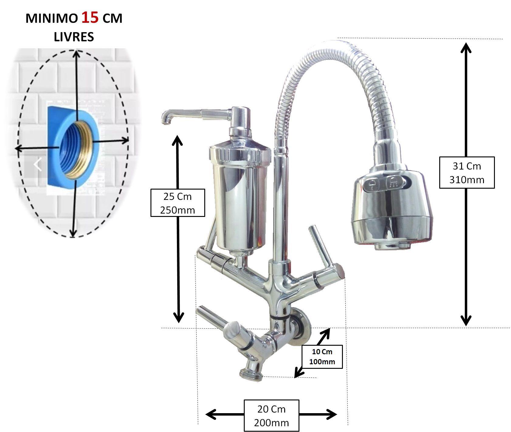 Torneira Luxo Saída Maquina C/ Filtro Parede Cozinha Anúncio com variação